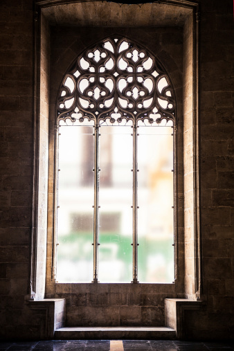 Window of La Lonja of Valencia in Valencia, Spain.