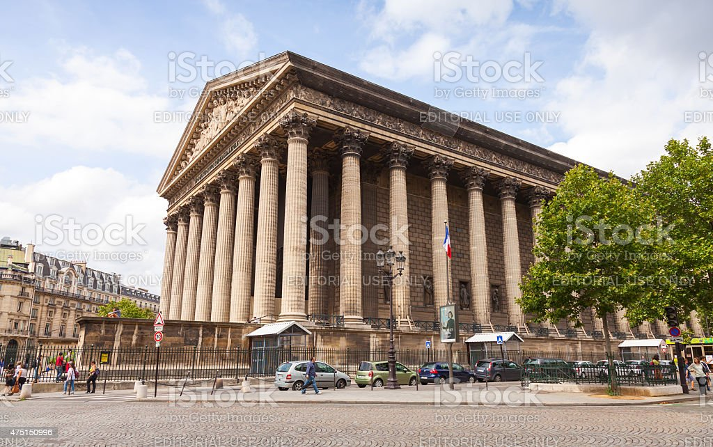 La Madeleine church exterior, Paris, France stock photo