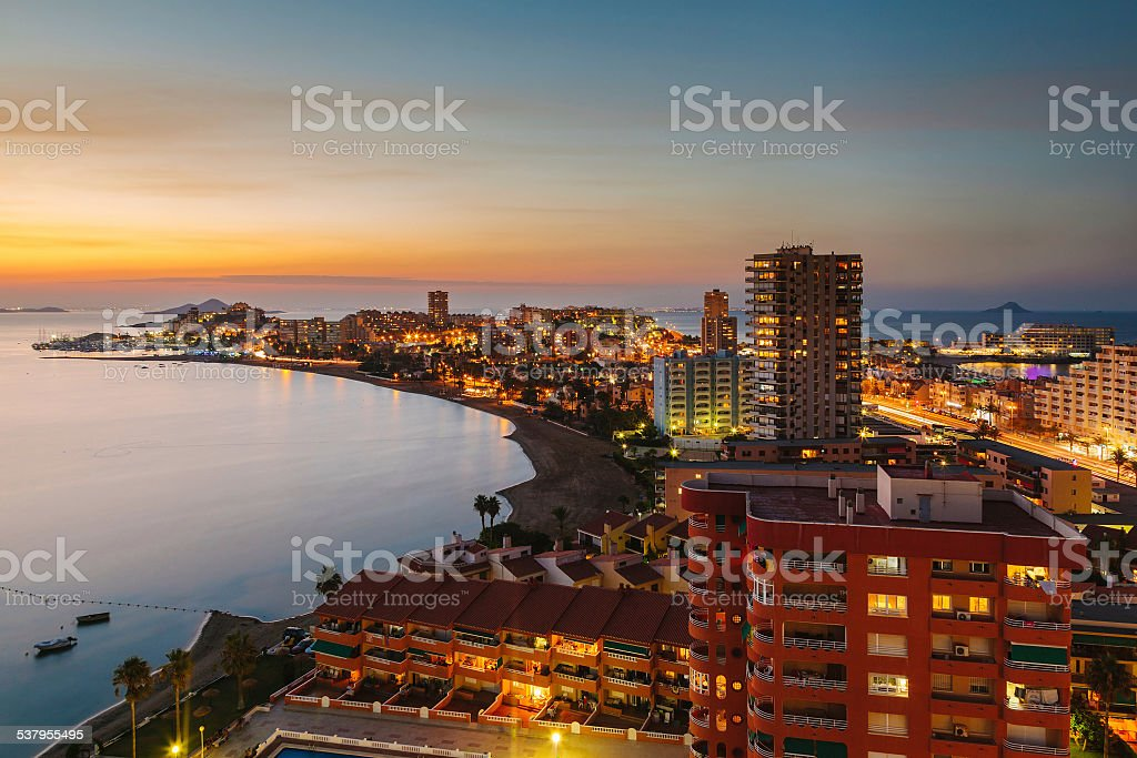 La Manga del Mar Menor Skyline at Night, Murcia, Spain stock photo