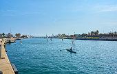 La Marina of Valencia, where people practice water sports.