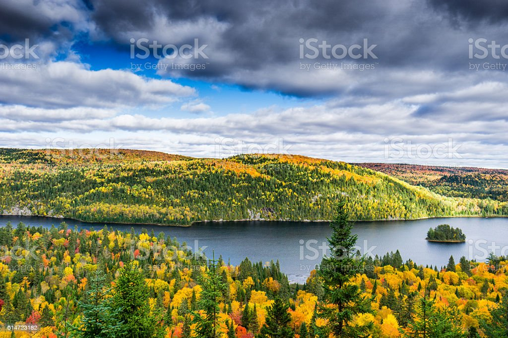 La Mauricie National Park Autumn colors stock photo