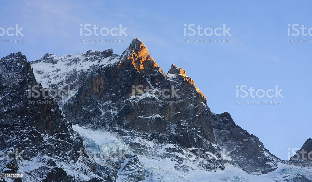 La Meije peak at the dawn royalty-free stock photo