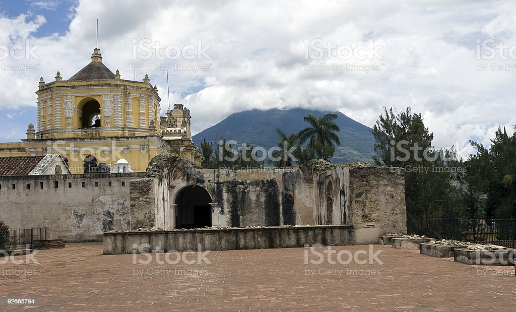 La Merced Church and Agua volcano stock photo