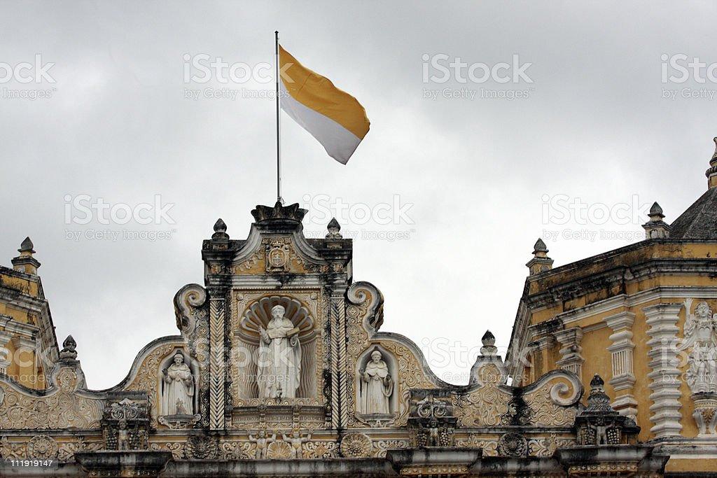 La Merced Church Antigua and Vatican flag stock photo