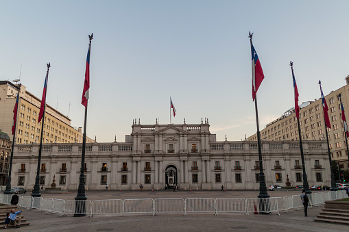 La Moneda Palace, seat of the President of the Republic of Chile, in Santiago, Chile