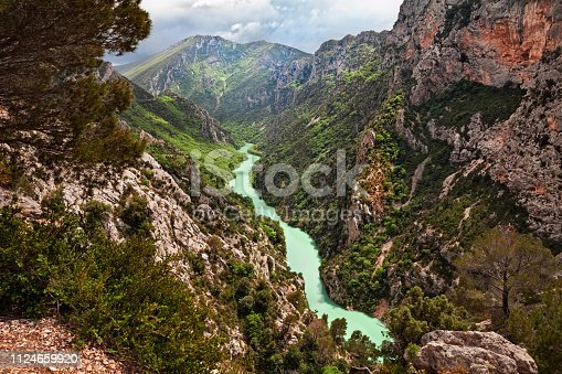 La Palud-sur-Verdon, Provence, France: landscape of the gorges of the Verdon river in the nature park of the Prealps mountains