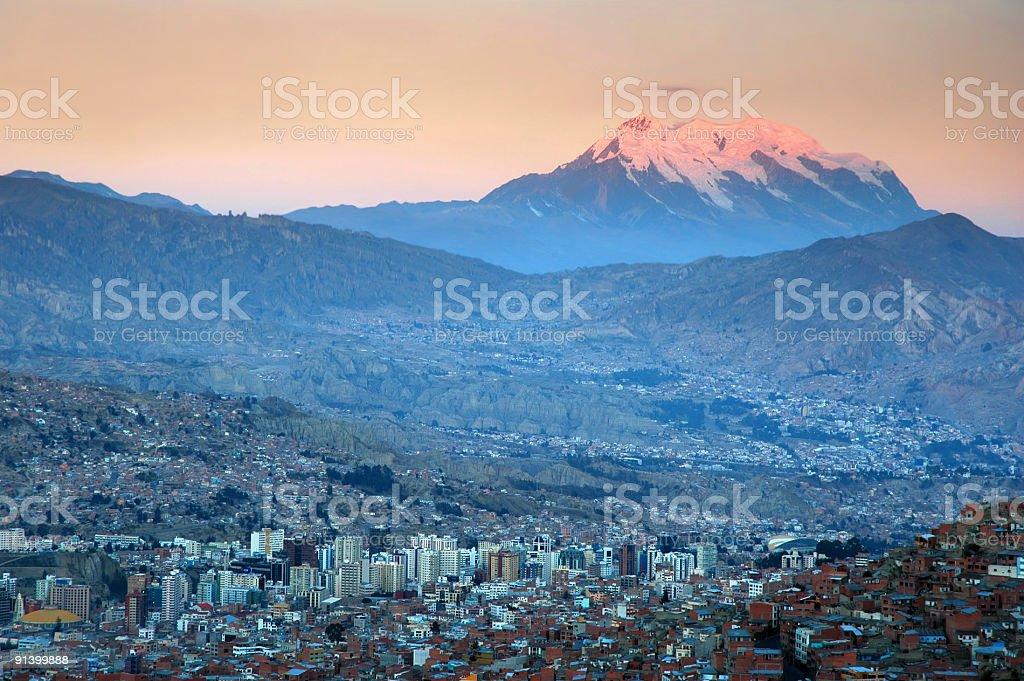 La Paz at sunset stock photo