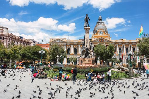 La Paz, Bolivia; February 12 2011: Plaza Murillo is located in the center of the city of La Paz