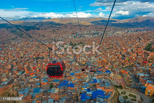 Cityscape of La Paz city with the new public transport system of Cable Cars named Teleferico and the snowcapped Andes mountain peaks in the background, Bolivia.