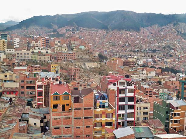 La Paz city in the mountains stock photo