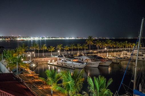 La Paz Marina at night
