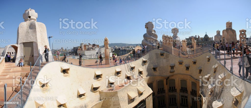 La Pedrera Roof, Barcelona stock photo
