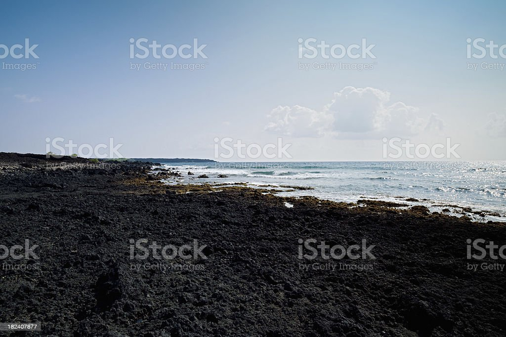 La Perouse Bay Lava Coast Pacific Ocean Maui Hawaii royalty-free stock photo
