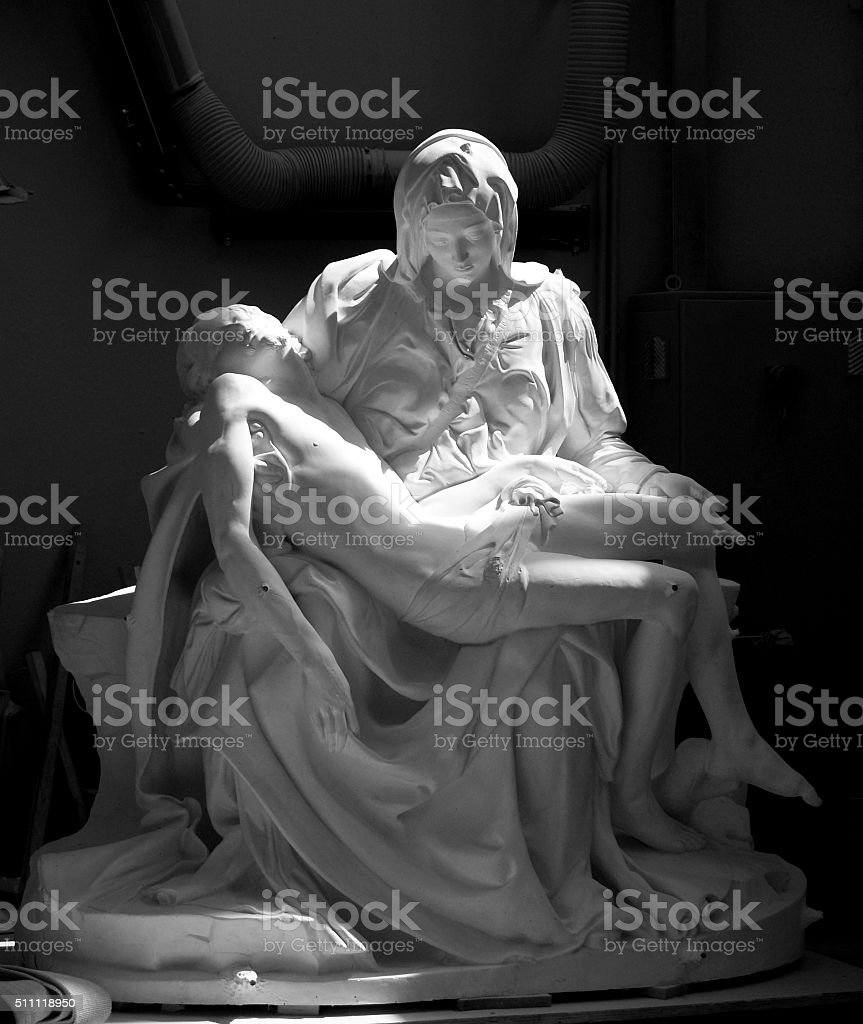 La Pieta by michelangelo in plaster. stock photo