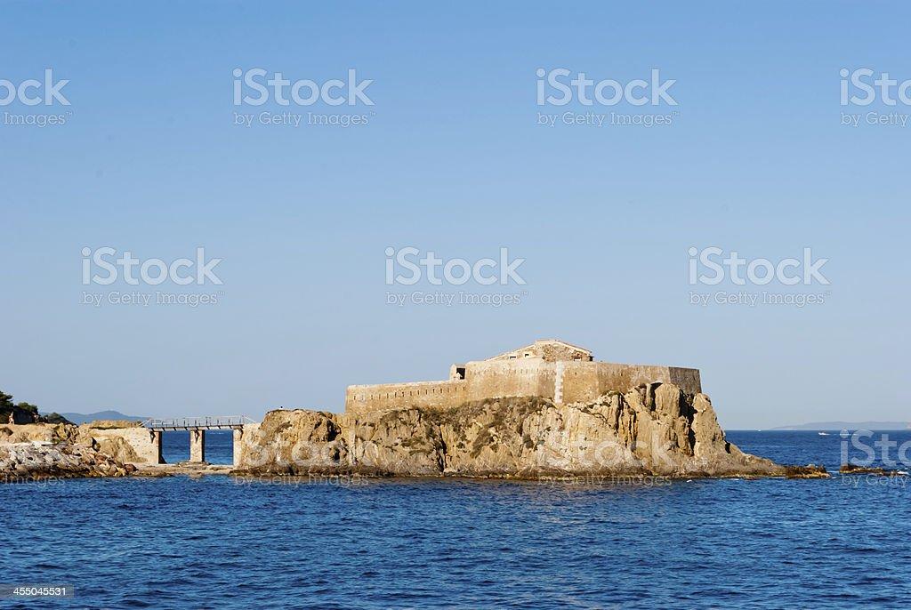La Port Fondue small fort, Porquerolles Island, France stock photo