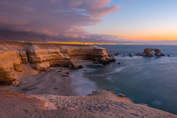 'La Portada' Natural Monument at sunset, Antofagasta (Chile) stock photo