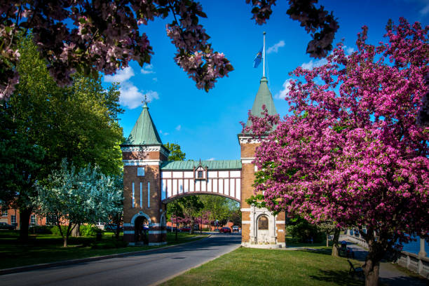 La porte des anciens maires is commemorative gate to the mayors of the city of Saint-Hyacinthe, Quebec, Canada stock photo