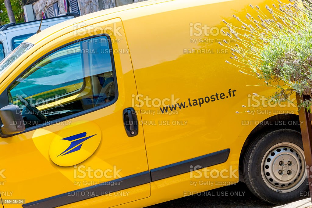 La Poste Van Parked Up stock photo