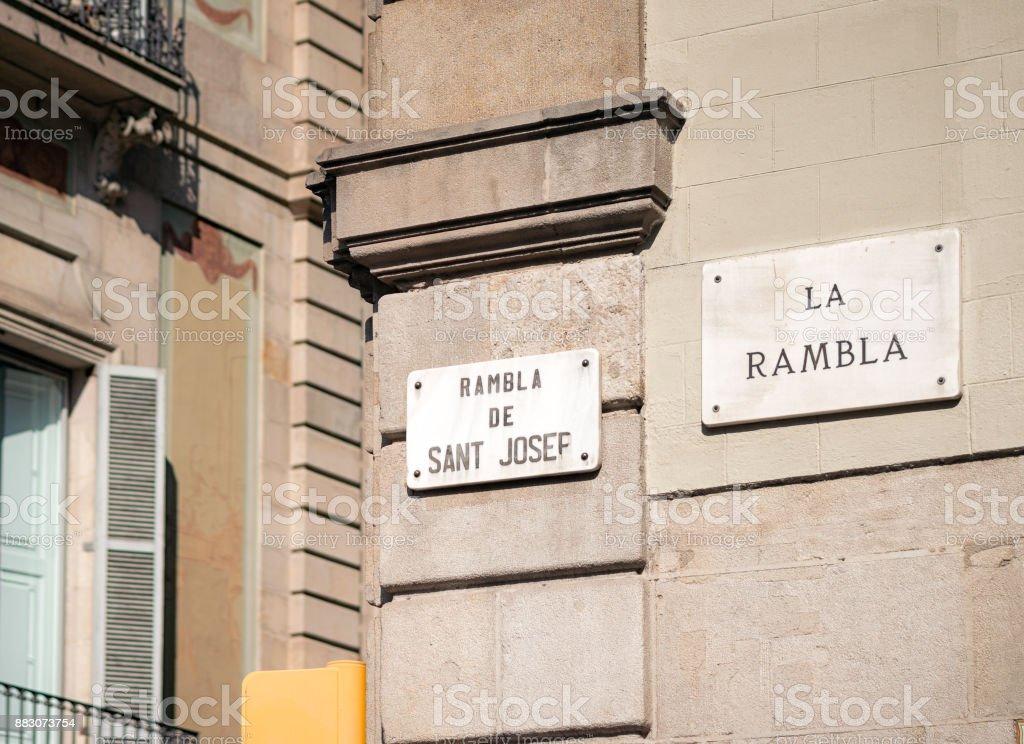 Straßenschild der La Rambla in Barcelona, Katalonien – Foto