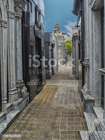 Buenos Aires, Argentina - April 24,2019: La Recoleta Cemetery ,the world famous attraction,vertical shot.