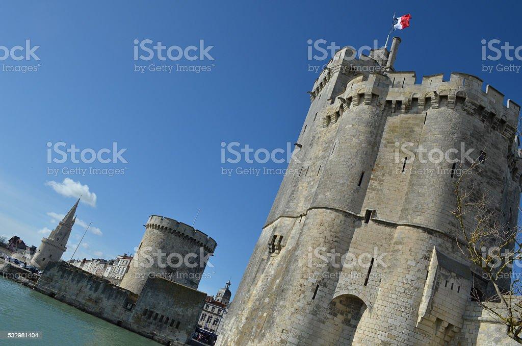 La Rochelle - Tour de la lanterne - Tour de la Chaine - Tour Saint Nicolas royalty-free stock photo