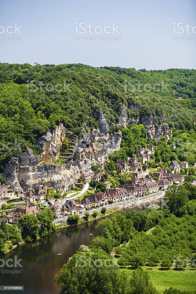 La Roque Gageac village in the Dorgogne region of France stock photo
