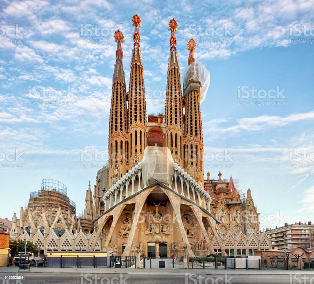 BARCELONA, SPAIN - FEBRUARY 10: La Sagrada Familia - the impressive cathedral designed by Gaudi, which is being build since 19 March 1882 and is not finished yet February 10, 2016 in Barcelona, Spain. stock photo