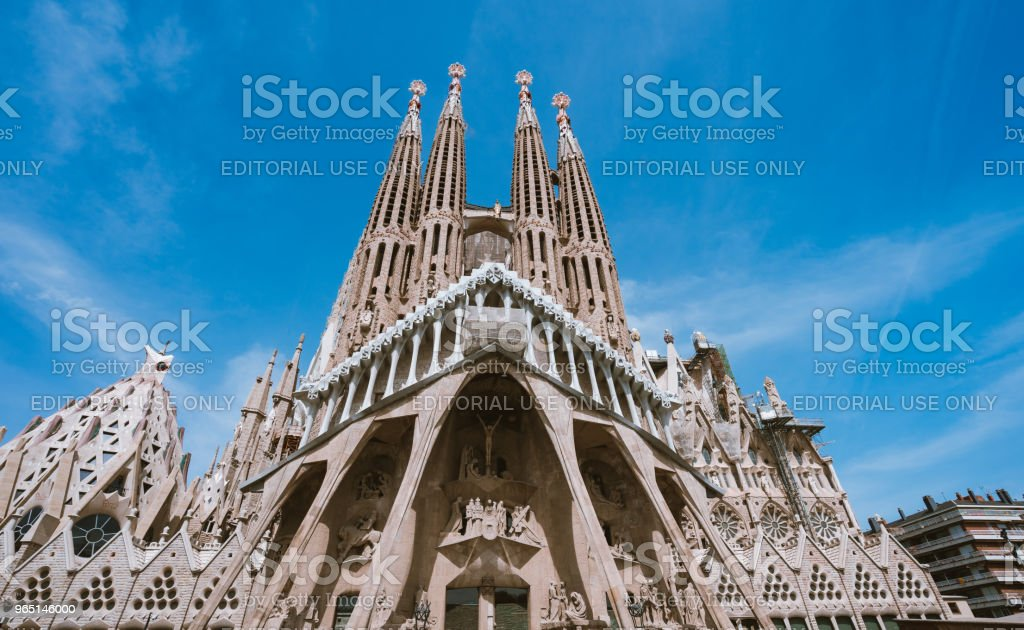 La Sagrada Familia - the impressive cathedral designed by Gaudi, which is being build since 19 March 1882 and planed finally be done in 2026, Barcelona, Spain royalty-free stock photo