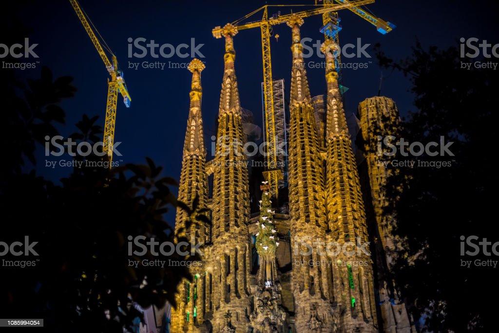 La Sagrada Familia\'s construction in progress. It is on the part of...