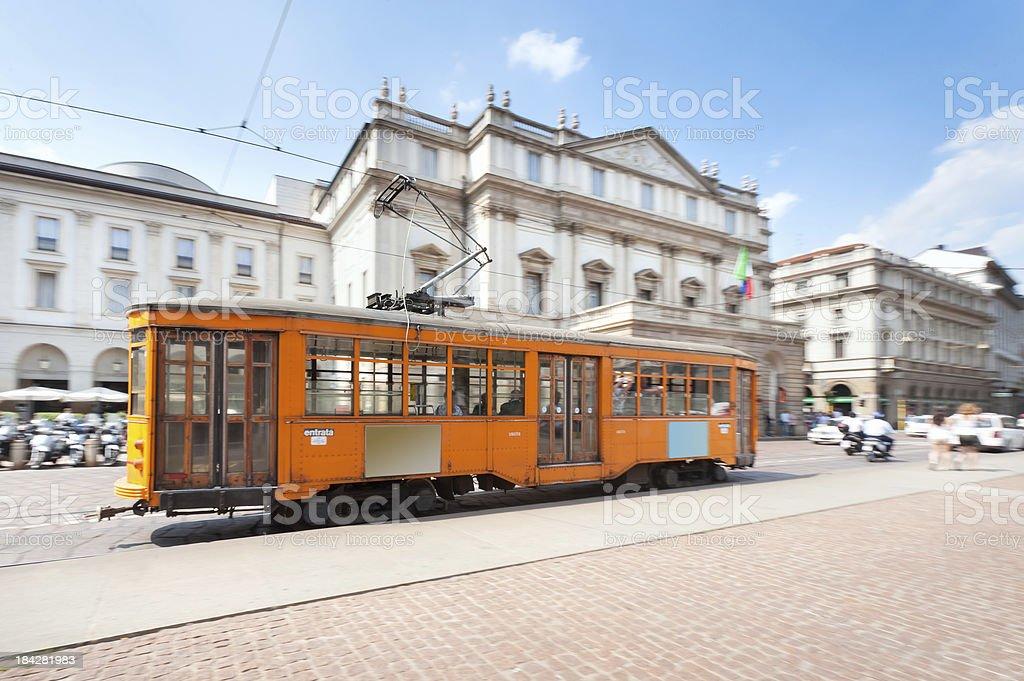La Scala and Tram, Milan royalty-free stock photo