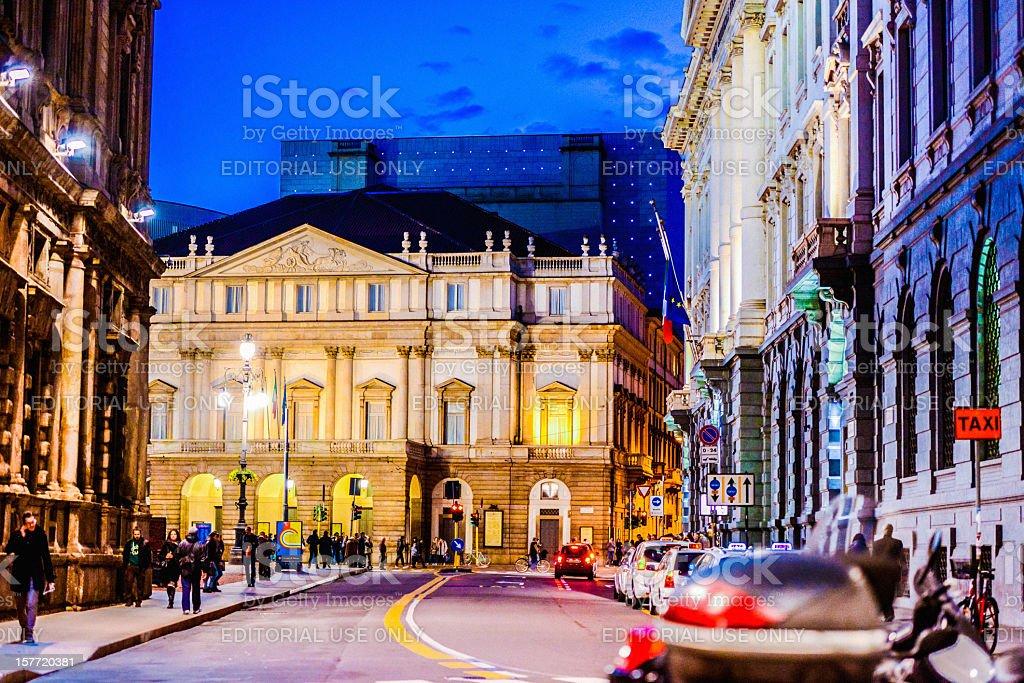 La Scala Theatre at night, Milan, Italy stock photo