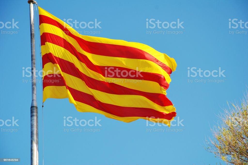 La Senyera, flag of Catalonia stock photo