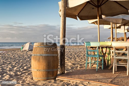 Wine bar on the beach. La Serena, Coquimbo, Chile.
