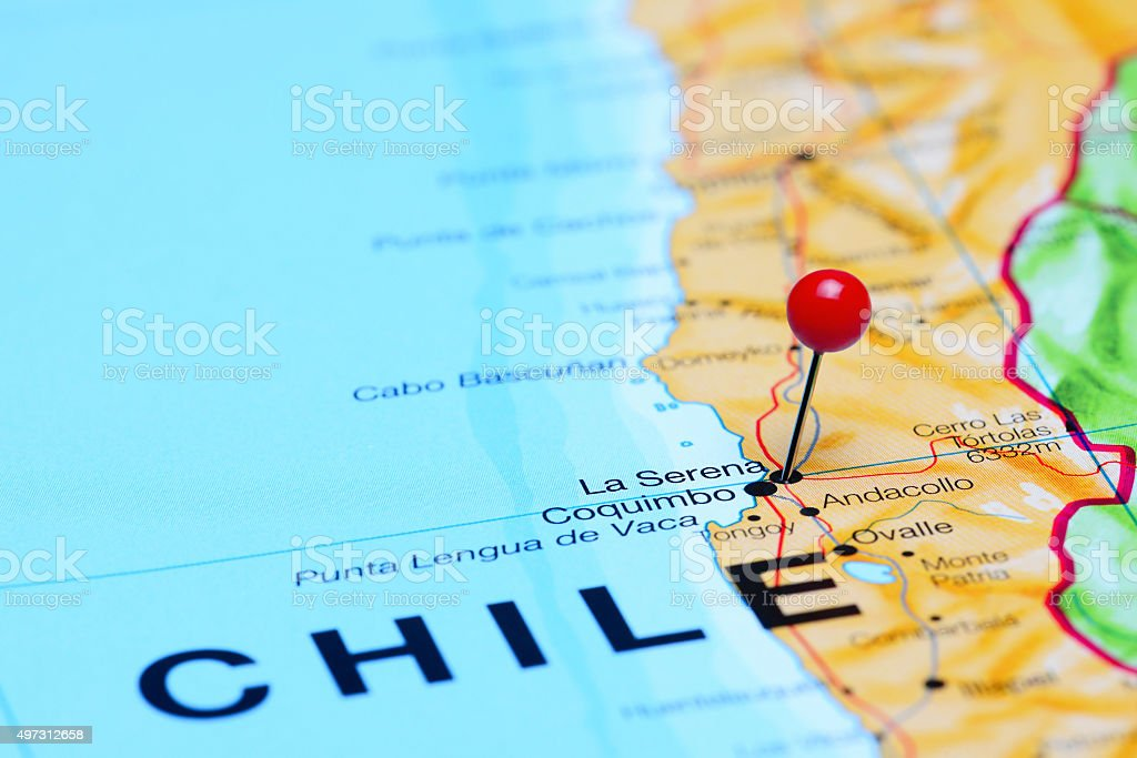 La Serena pinned on a map of Chile stock photo