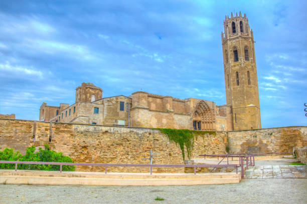 la seu vella cathedral at lleida, spain - lleida стоковые фото и изображения
