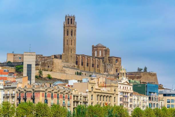 la seu vella cathedral erected over lleida town in spain - lleida стоковые фото и изображения
