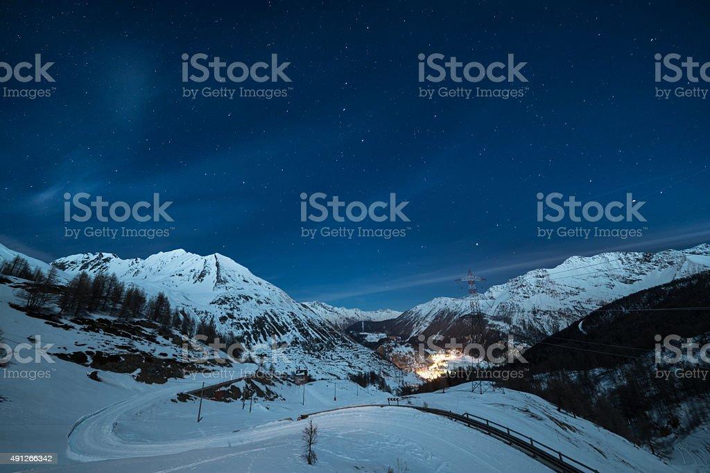 La Thuile ski resort at night stock photo