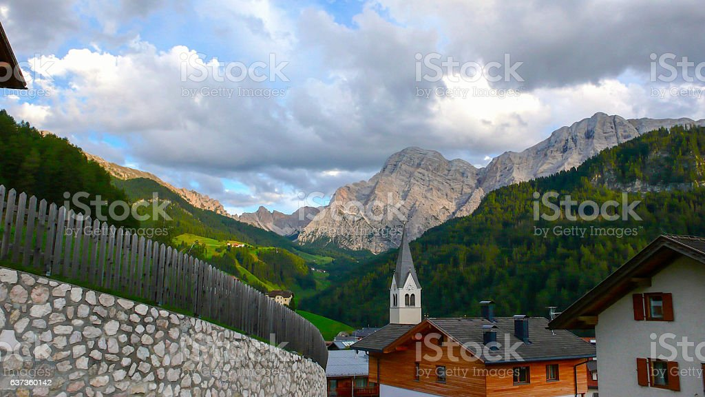 La Valle and the Italian Dolomites in fall stock photo