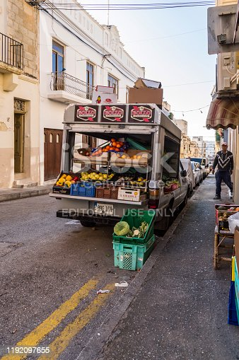 La Vallette,Malte,Europe-30/11/2019.Small truck filled with vegetables and fresh fruits for sale in the streets of Cefalu in Sicily