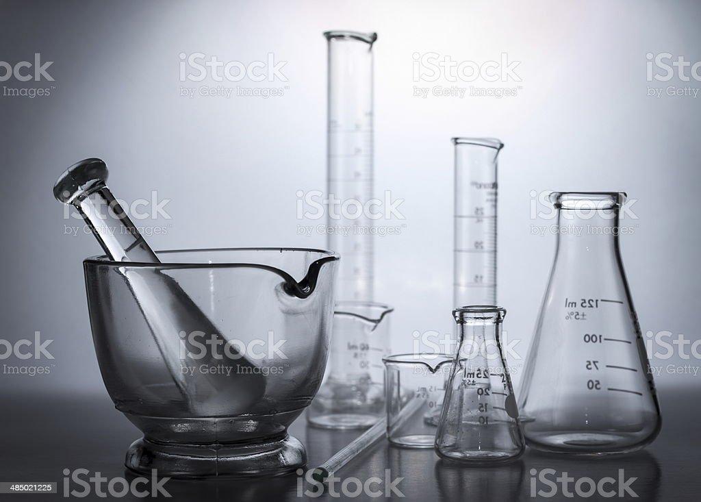 Lab equipment, glassware kit in monochrome royalty-free stock photo