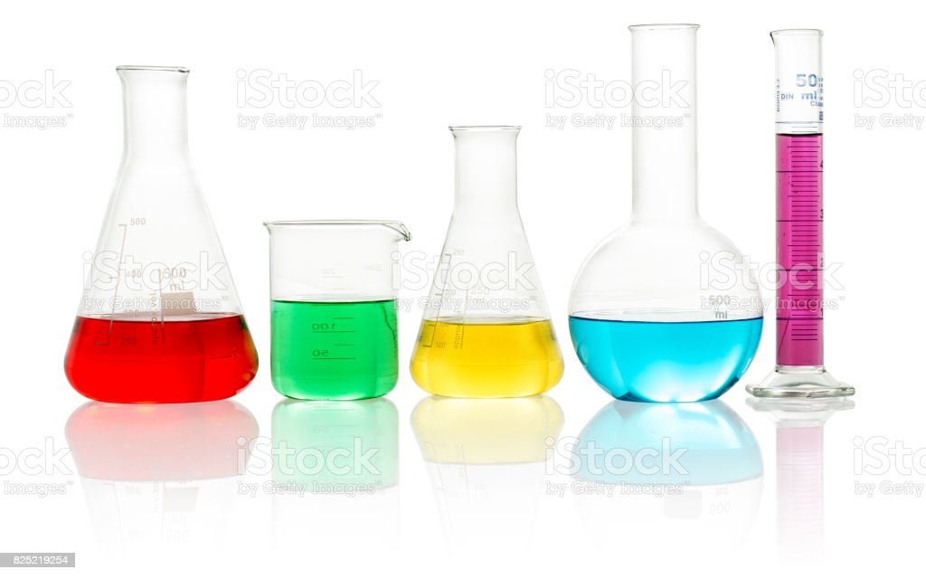 lab glassware filled with colorful liquid stock photo