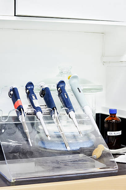 Lab pipettes stock photo