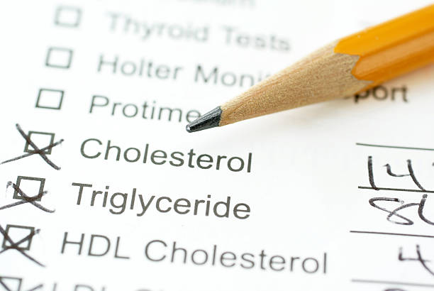 lab report for cholesterol with pencil  cholesterol stock pictures, royalty-free photos & images