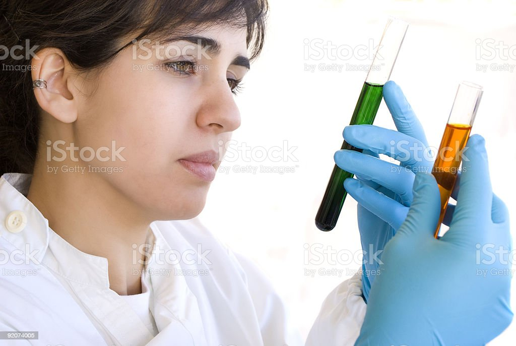 Lab Tech Comparing two samples royalty-free stock photo