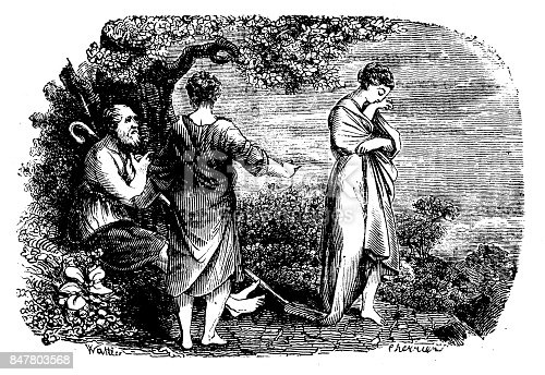 "19th-century illustration of Laban and Jacob theme. Published in ""História Sagrada do Antigo e Novo Testamento"", Tomo 1 - Vª J.-P. Aillaud, Guillard e Cª - 1863"