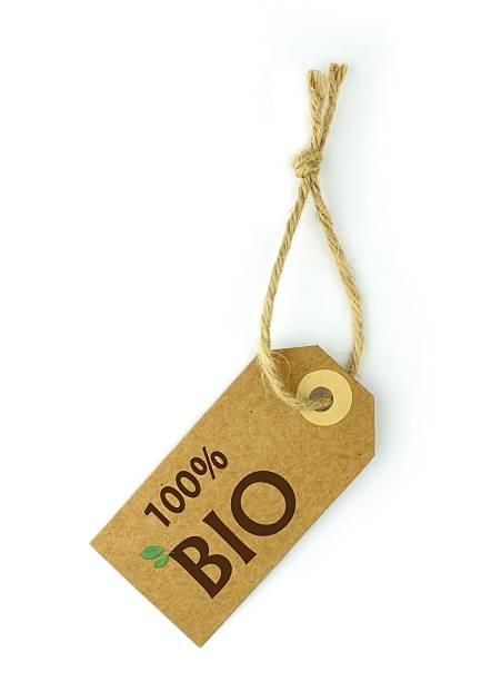 """label und brown """"100% biologisch"""" -schriftzug - matheblatt etiketten stock-fotos und bilder"""