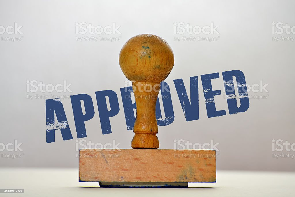 Label Approved stock photo