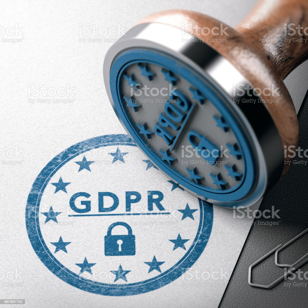 DPM, GDPR label, EU General Data Protection Regulation compliance stock photo