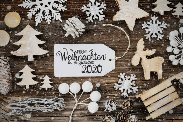 Label, Rahmen, Dekoration, Glueckliches 2020 Bedeutet Happ 2020, Schneeflocken – Foto