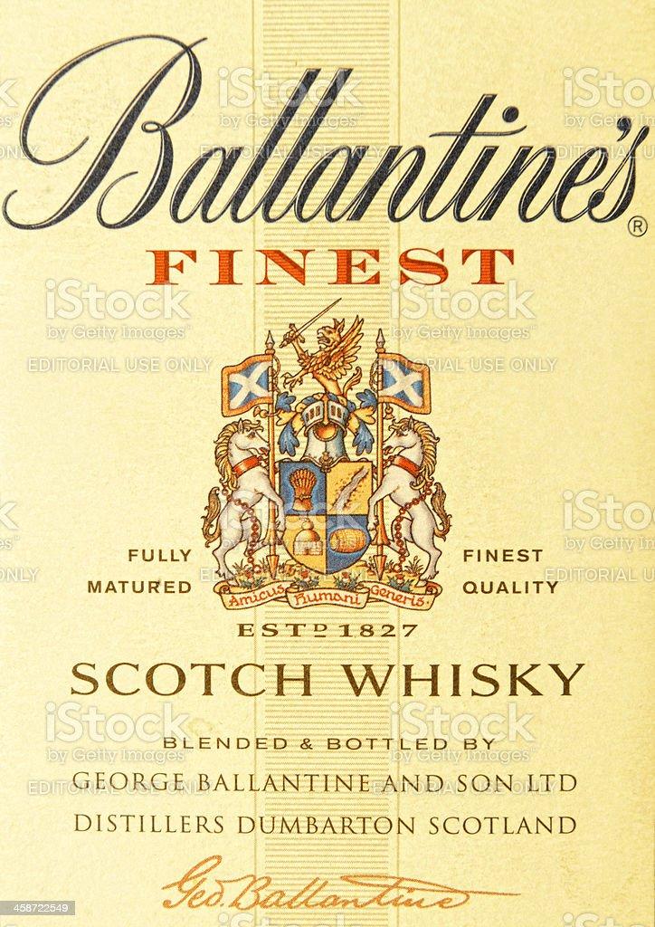 Label Of Ballantine's Scoth Whisky Bottle stock photo